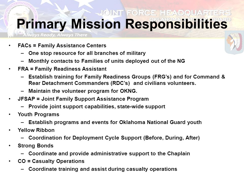 Primary Mission Responsibilities