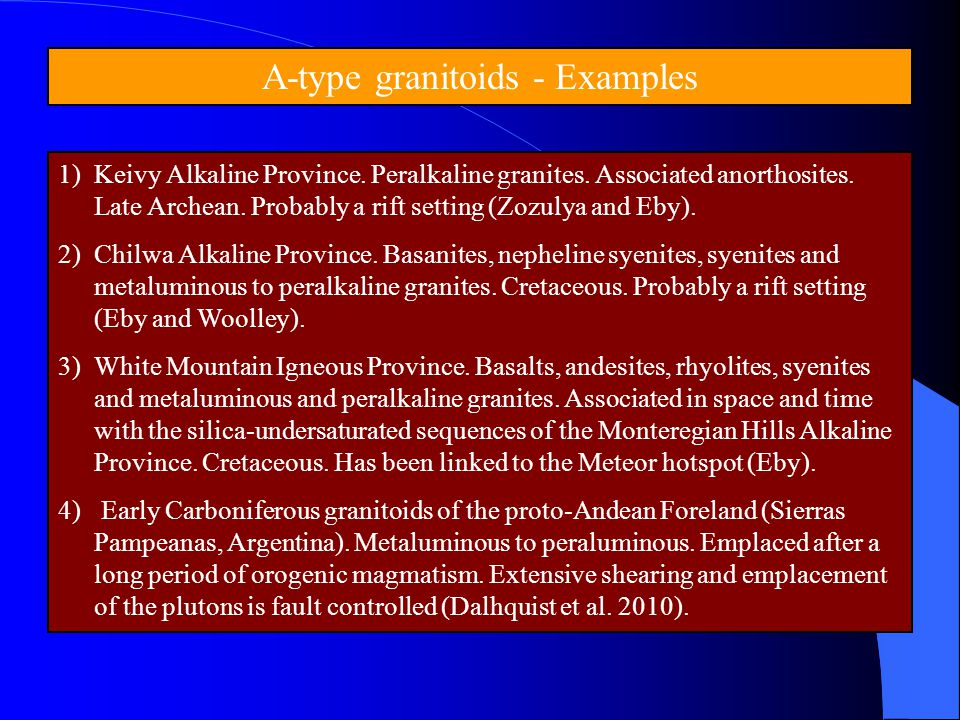 A-type granitoids - Examples