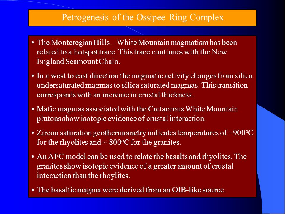 Petrogenesis of the Ossipee Ring Complex