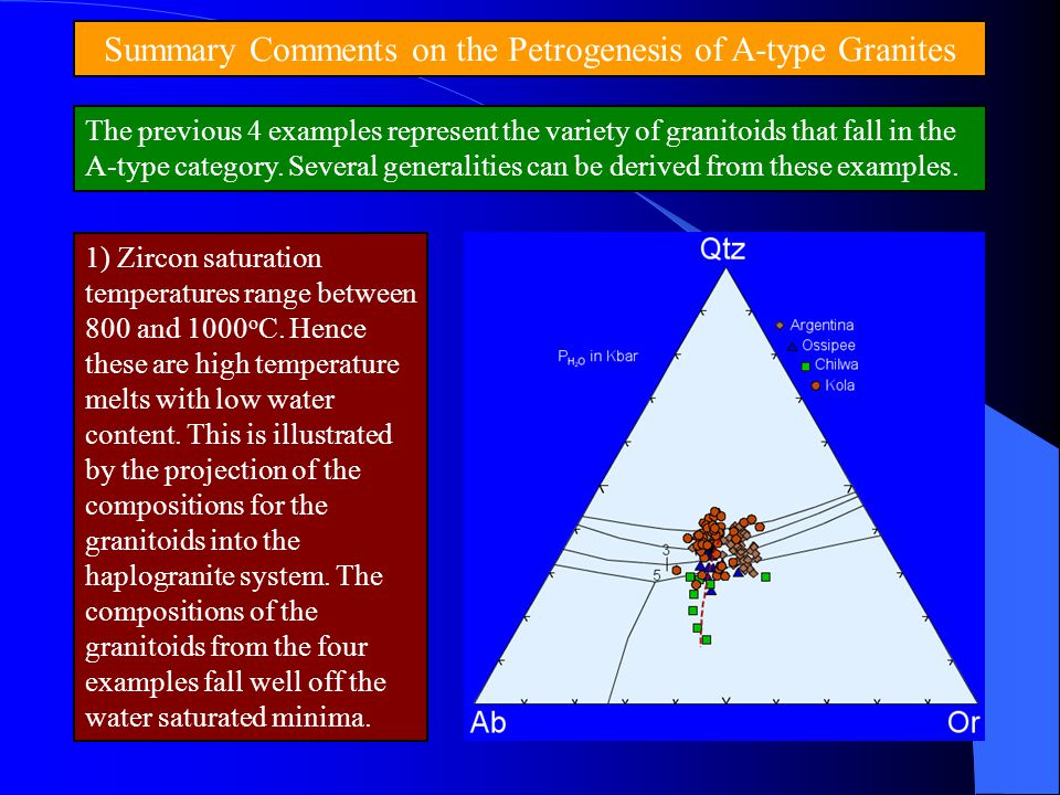 Summary Comments on the Petrogenesis of A-type Granites