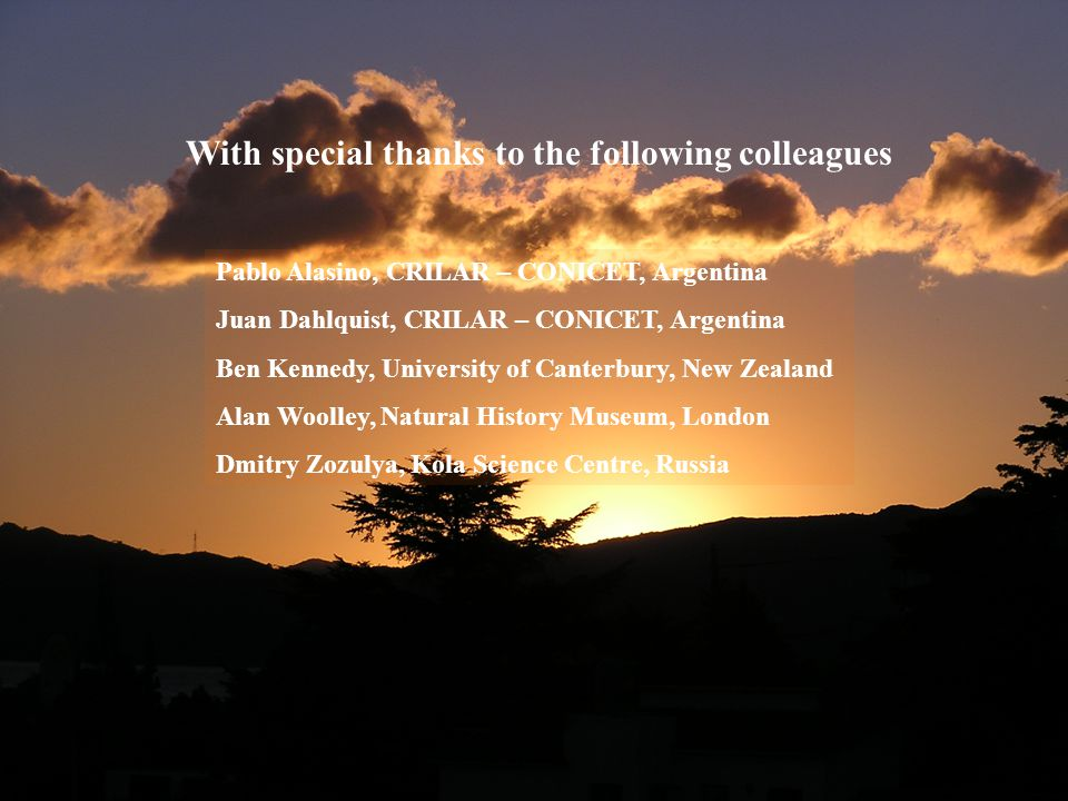 With special thanks to the following colleagues