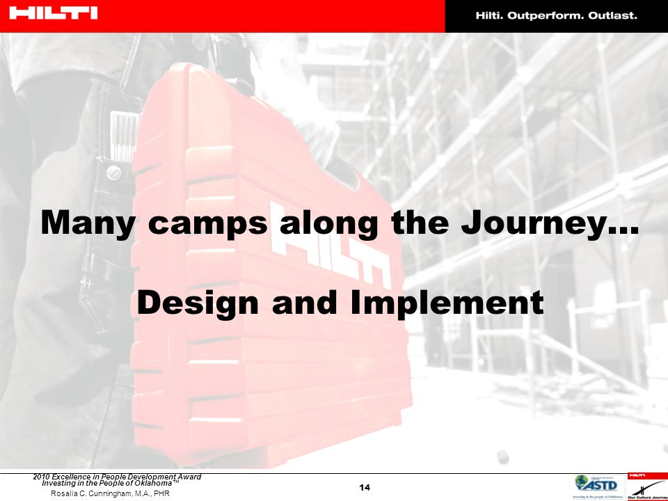 Many camps along the Journey… Design and Implement