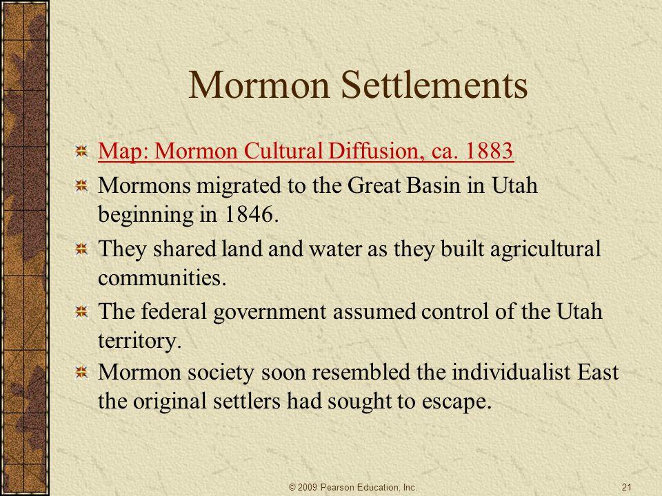 Mormon Settlements Map: Mormon Cultural Diffusion, ca. 1883