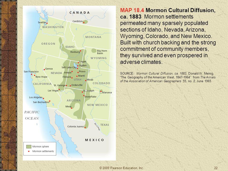 MAP 18. 4 Mormon Cultural Diffusion, ca