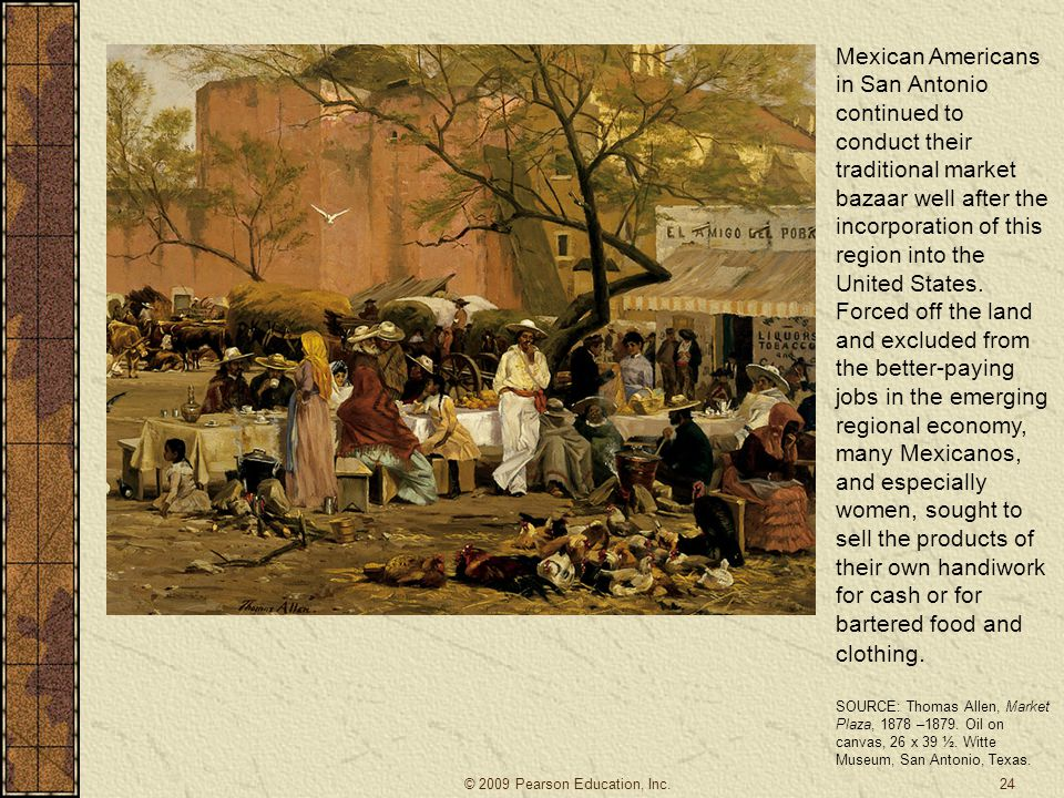 Mexican Americans in San Antonio continued to conduct their traditional market bazaar well after the incorporation of this region into the United States. Forced off the land and excluded from the better-paying jobs in the emerging regional economy, many Mexicanos, and especially women, sought to sell the products of their own handiwork for cash or for bartered food and clothing.