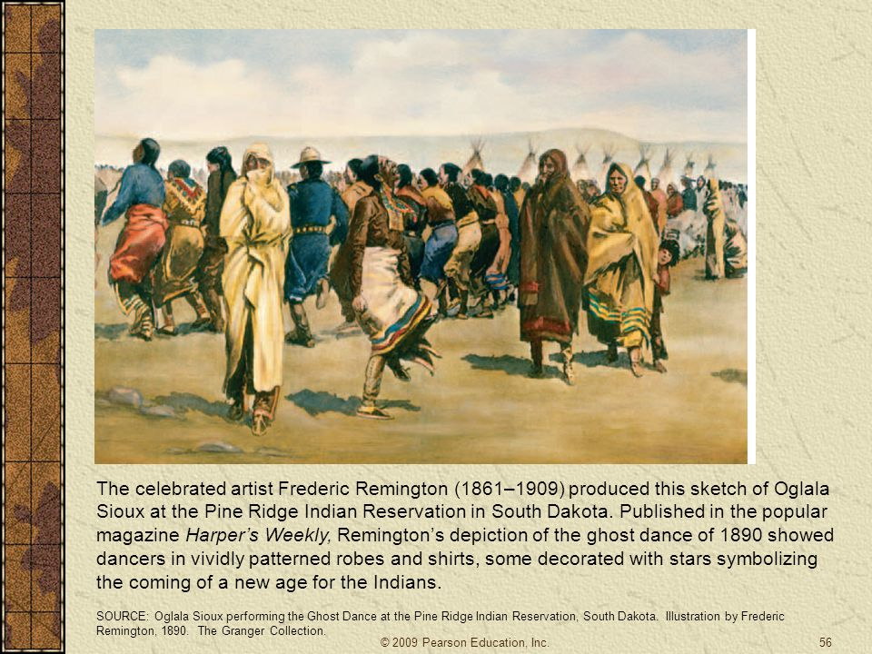The celebrated artist Frederic Remington (1861–1909) produced this sketch of Oglala Sioux at the Pine Ridge Indian Reservation in South Dakota. Published in the popular magazine Harper's Weekly, Remington's depiction of the ghost dance of 1890 showed dancers in vividly patterned robes and shirts, some decorated with stars symbolizing the coming of a new age for the Indians.