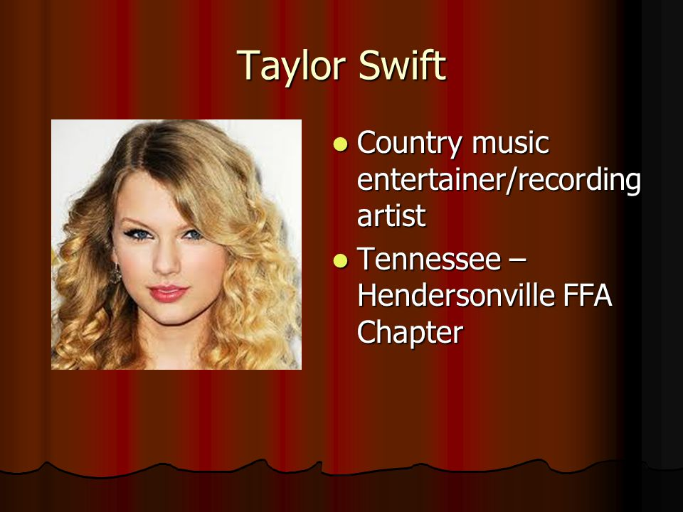Taylor Swift Country music entertainer/recording artist