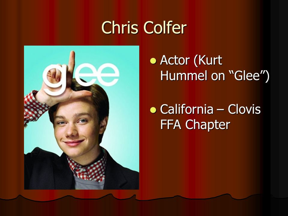 Chris Colfer Actor (Kurt Hummel on Glee )