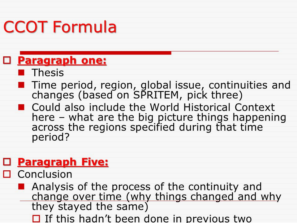 CCOT Formula Paragraph one: Thesis