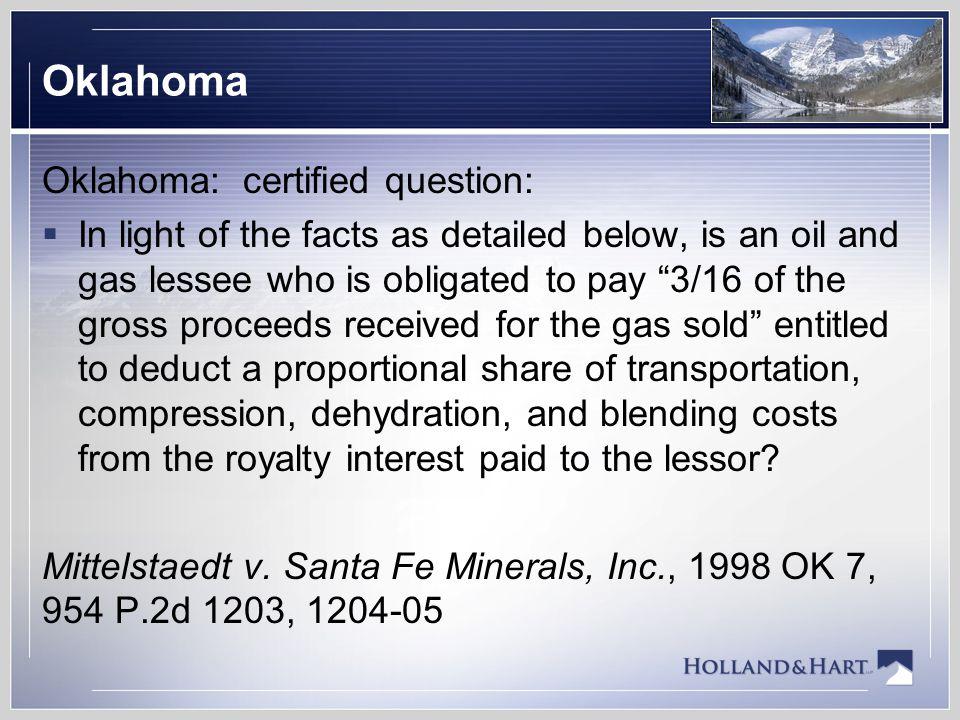 Oklahoma Oklahoma: certified question: