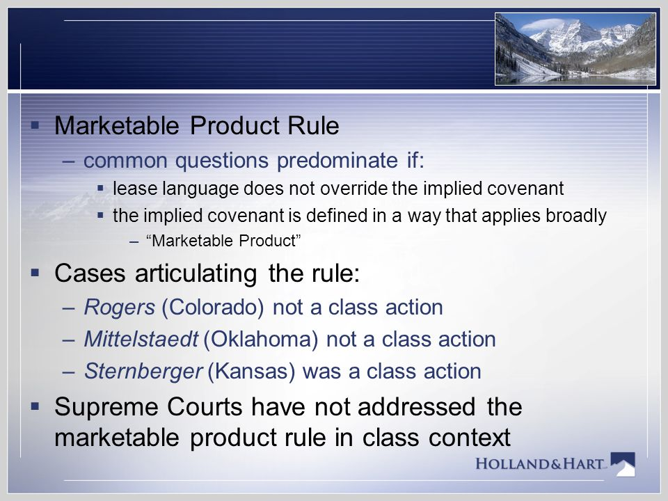 Marketable Product Rule