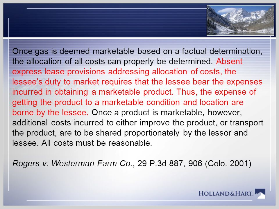Once gas is deemed marketable based on a factual determination, the allocation of all costs can properly be determined.