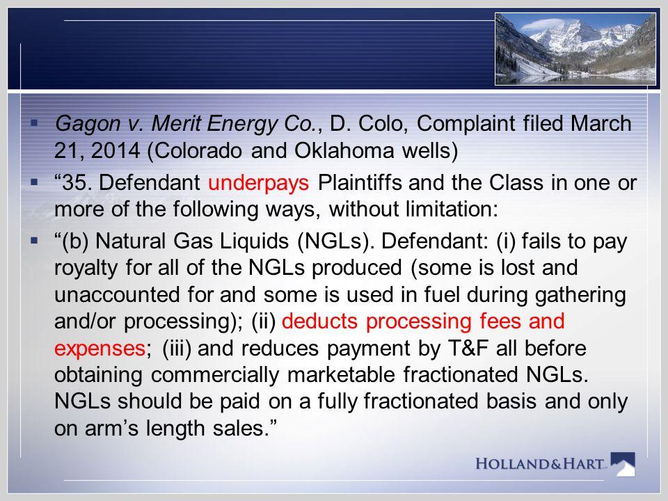 Gagon v. Merit Energy Co. , D
