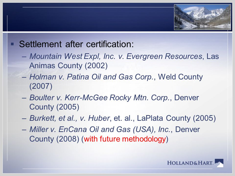 Settlement after certification: