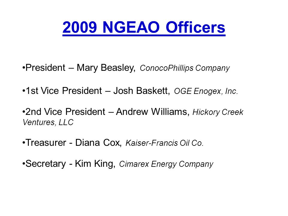 2009 NGEAO Officers President – Mary Beasley, ConocoPhillips Company