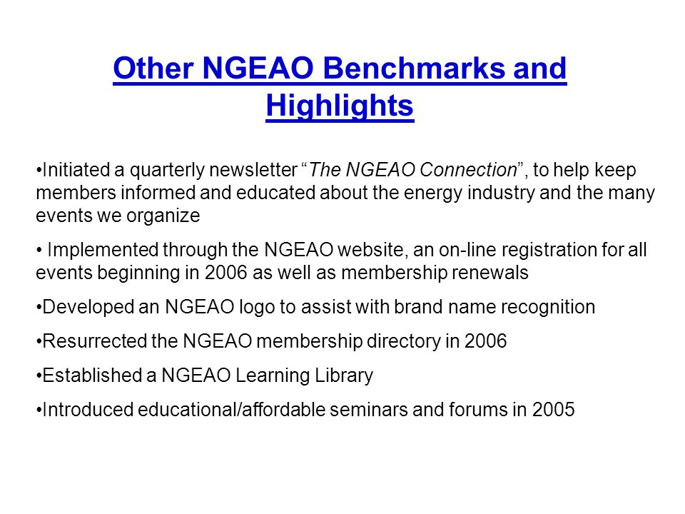 Other NGEAO Benchmarks and Highlights
