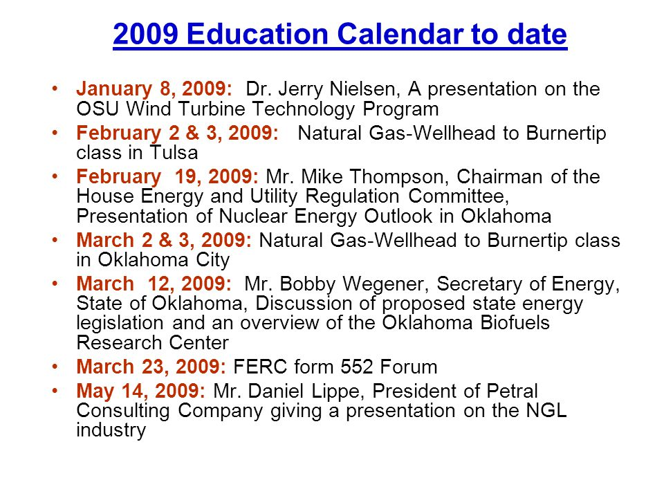 2009 Education Calendar to date