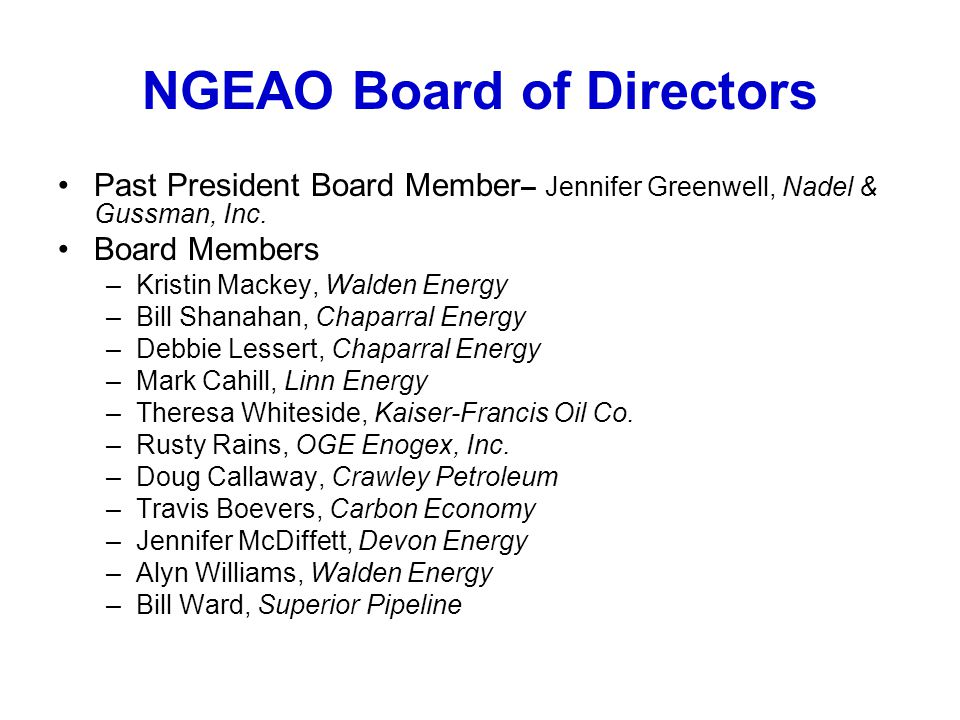 NGEAO Board of Directors
