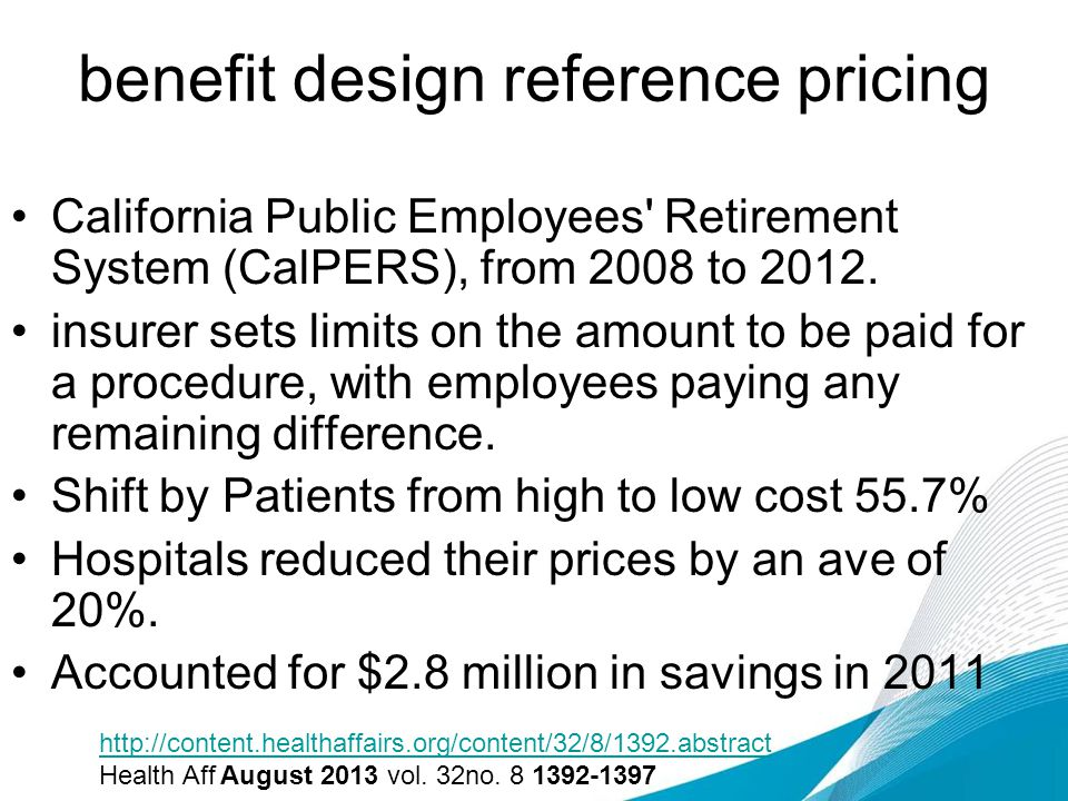 benefit design reference pricing