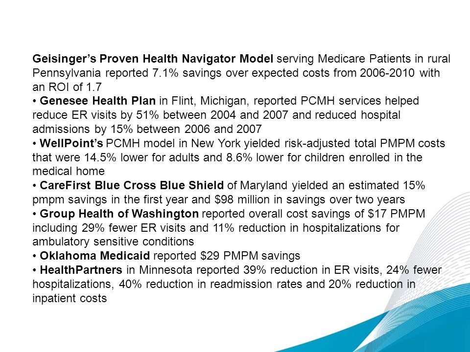 Geisinger's Proven Health Navigator Model serving Medicare Patients in rural Pennsylvania reported 7.1% savings over expected costs from 2006-2010 with an ROI of 1.7
