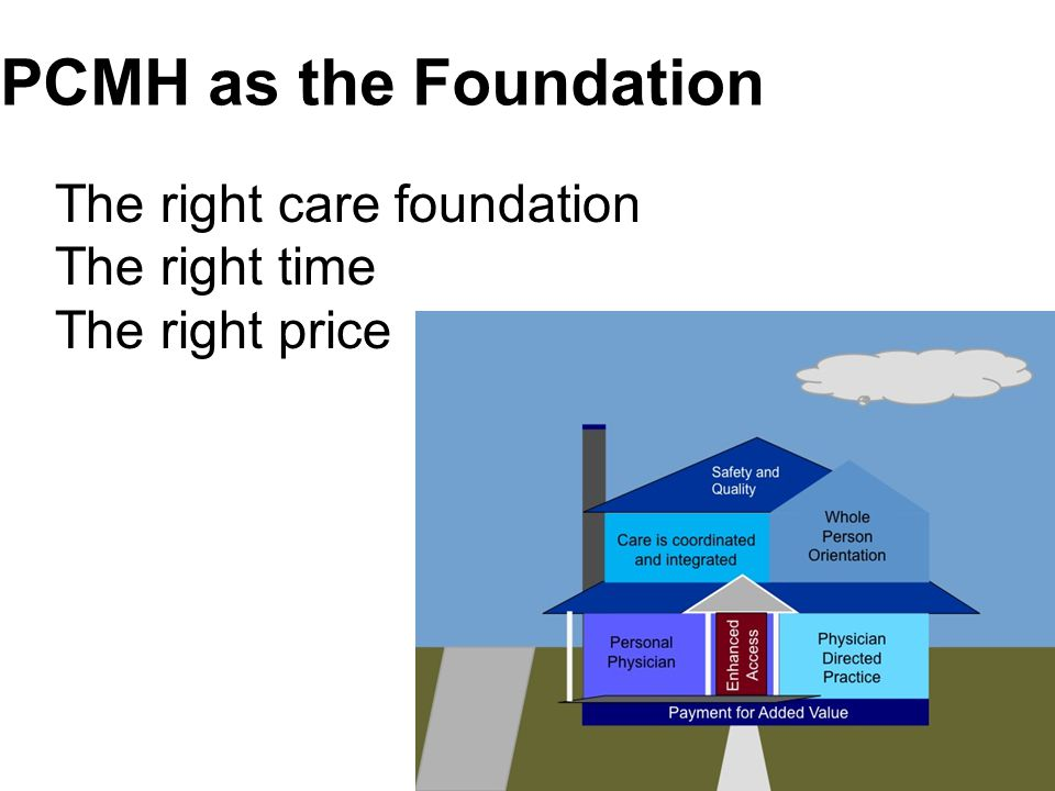 PCMH as the Foundation The right care foundation The right time The right price