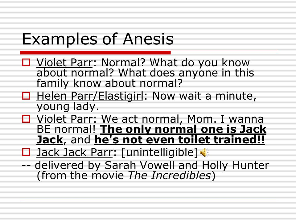 Examples of Anesis Violet Parr: Normal What do you know about normal What does anyone in this family know about normal