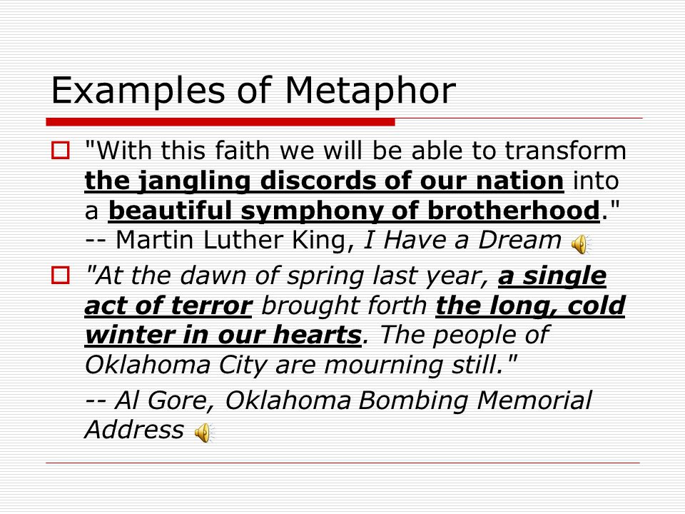 Examples of Metaphor