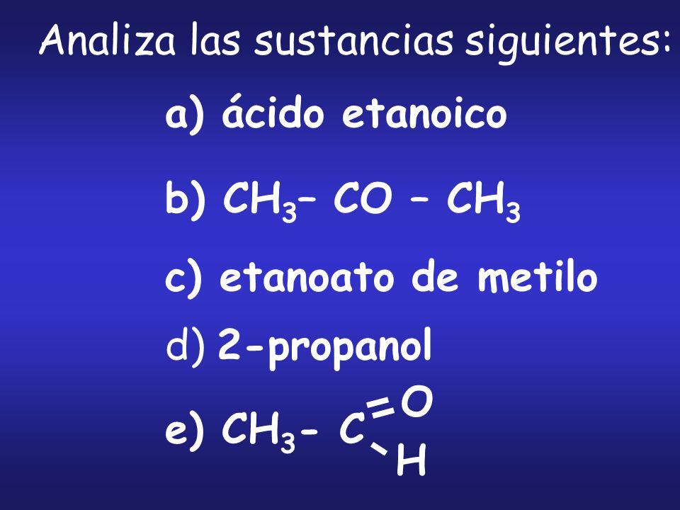 Analiza las sustancias siguientes: