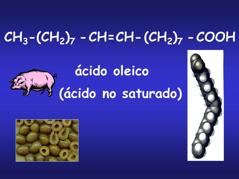 CH3- (CH2)7 - CH= CH- COOH ácido oleico (ácido no saturado)