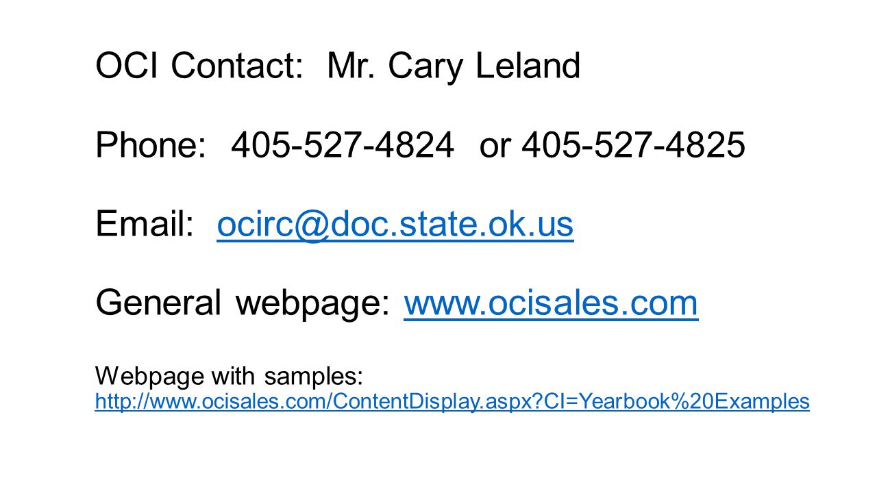 OCI Contact: Mr.