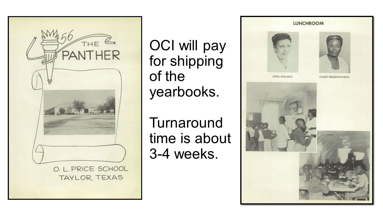 OCI will pay for shipping of the yearbooks