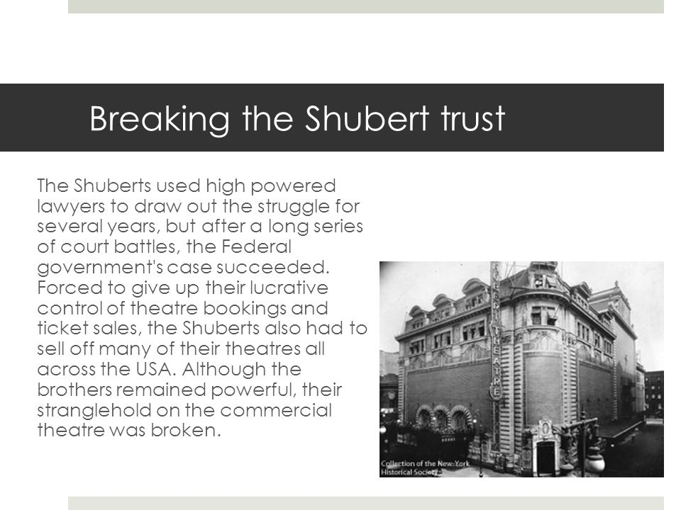 Breaking the Shubert trust
