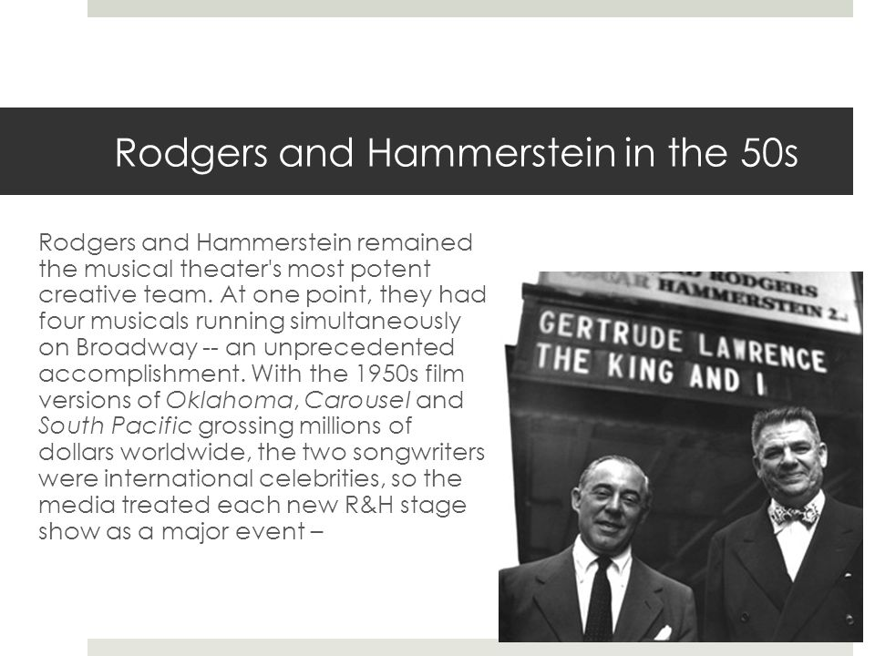 Rodgers and Hammerstein in the 50s