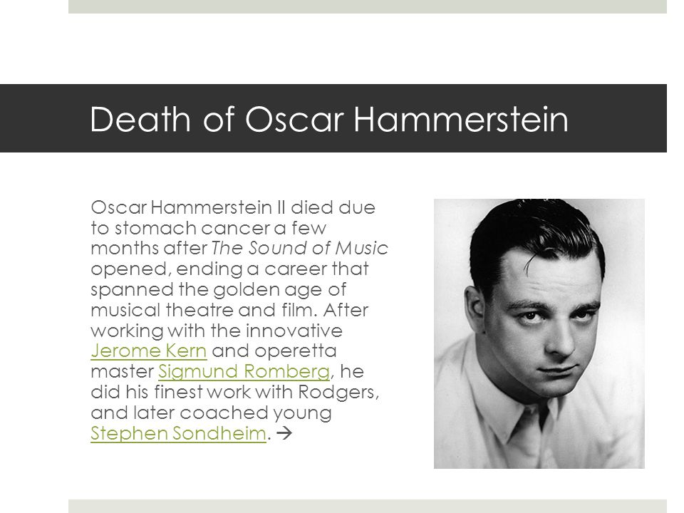 Death of Oscar Hammerstein