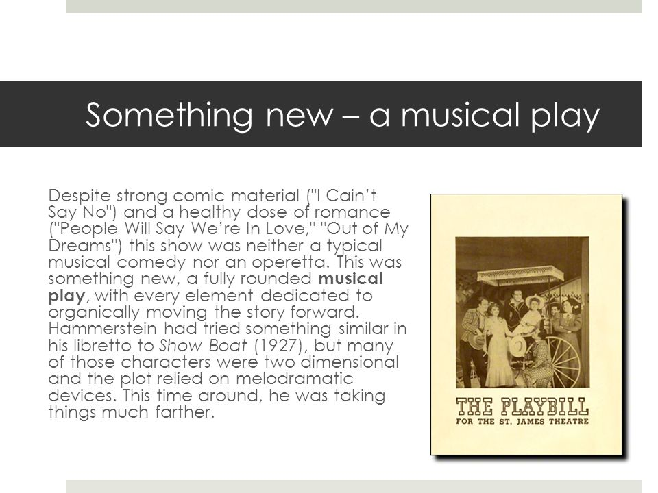 Something new – a musical play