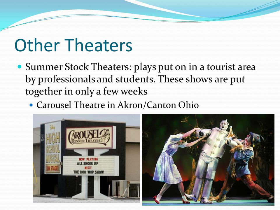 Other Theaters Summer Stock Theaters: plays put on in a tourist area by professionals and students. These shows are put together in only a few weeks.
