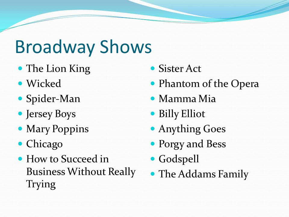 Broadway Shows The Lion King Wicked Spider-Man Jersey Boys