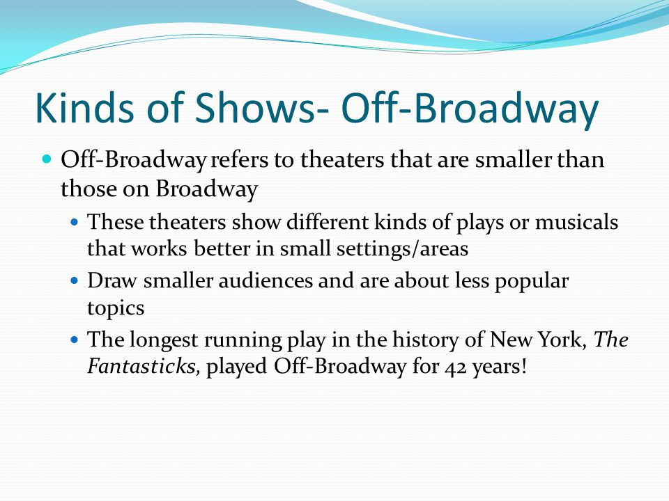 Kinds of Shows- Off-Broadway