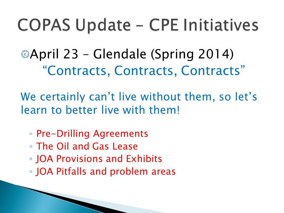 COPAS Update – CPE Initiatives