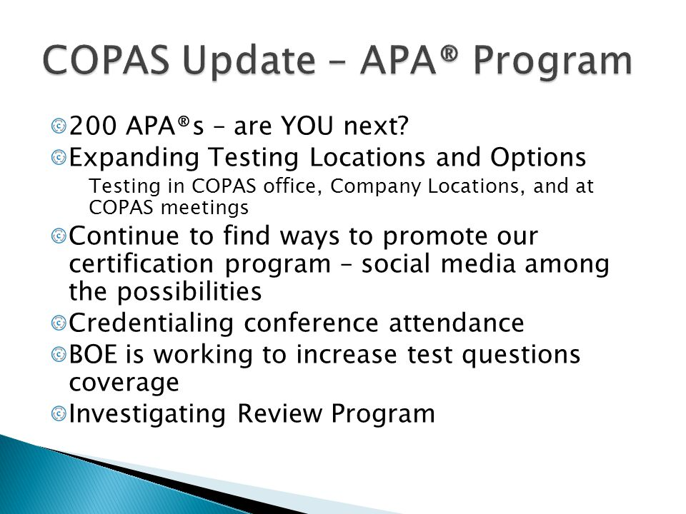 COPAS Update – APA® Program