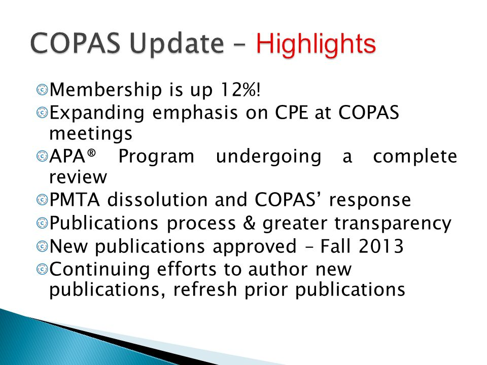 COPAS Update – Highlights