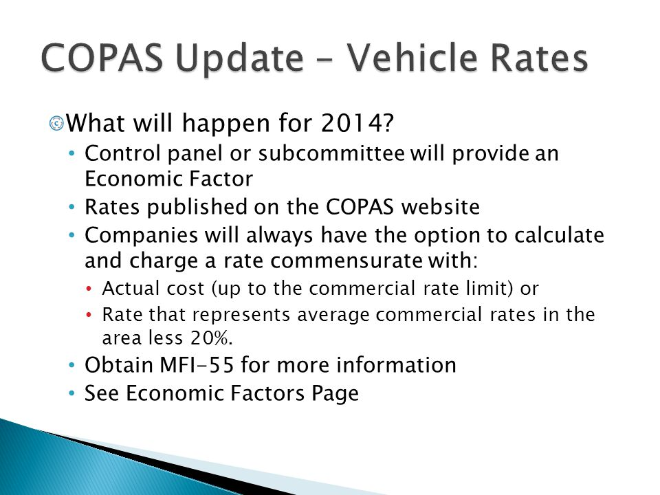 COPAS Update – Vehicle Rates