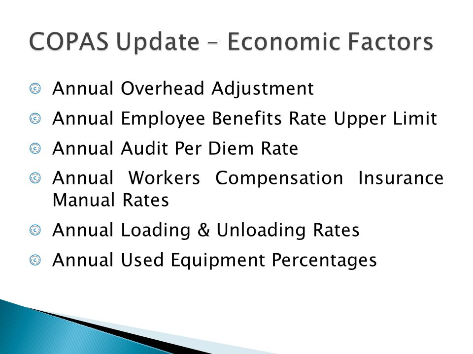 COPAS Update – Economic Factors