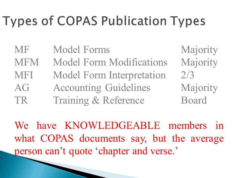 Types of COPAS Publication Types