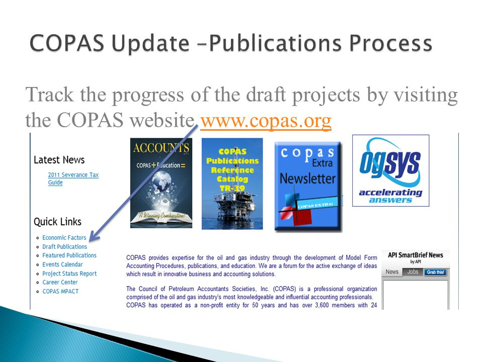 COPAS Update –Publications Process