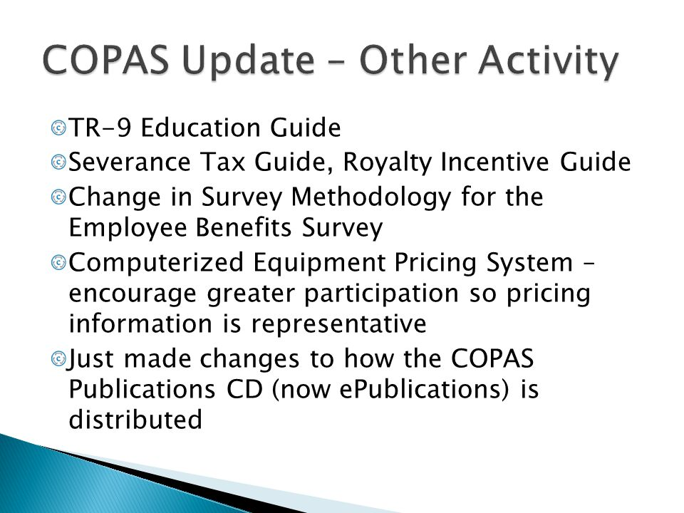 COPAS Update – Other Activity