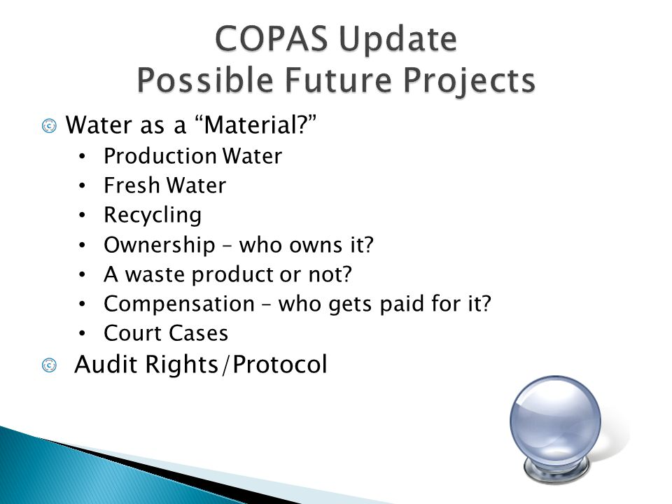 COPAS Update Possible Future Projects