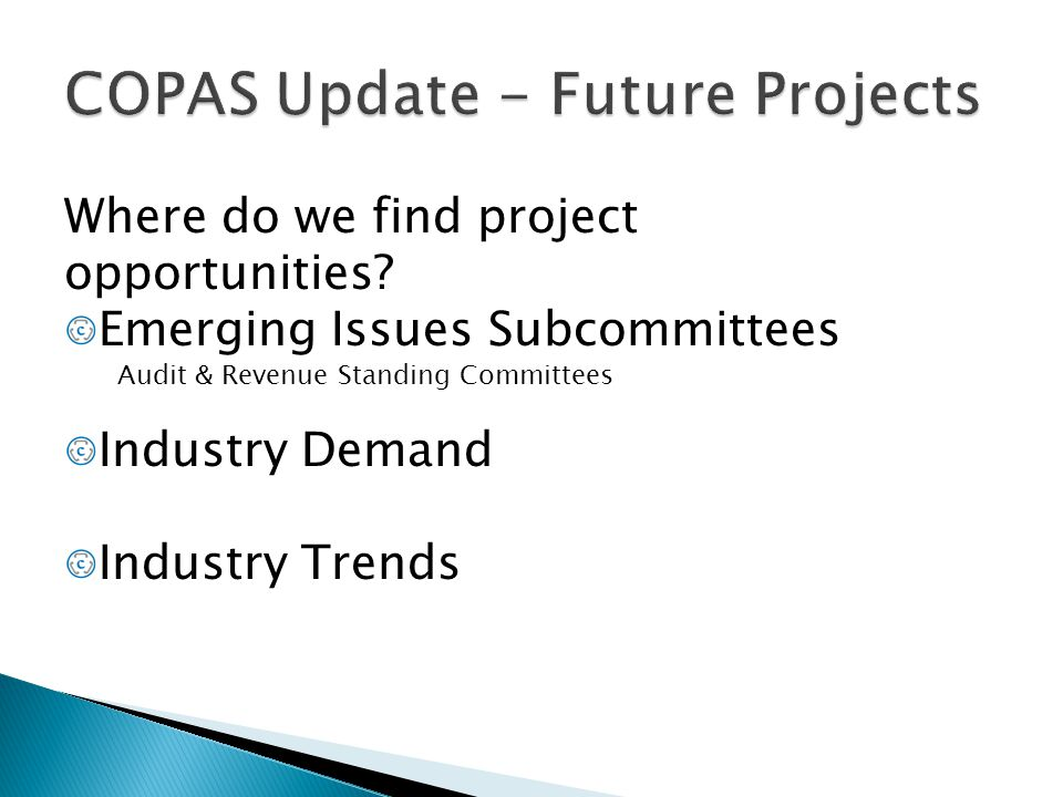COPAS Update - Future Projects