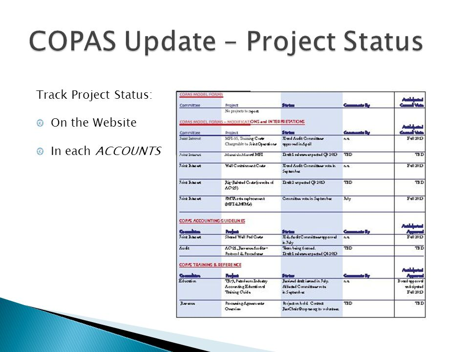 COPAS Update – Project Status