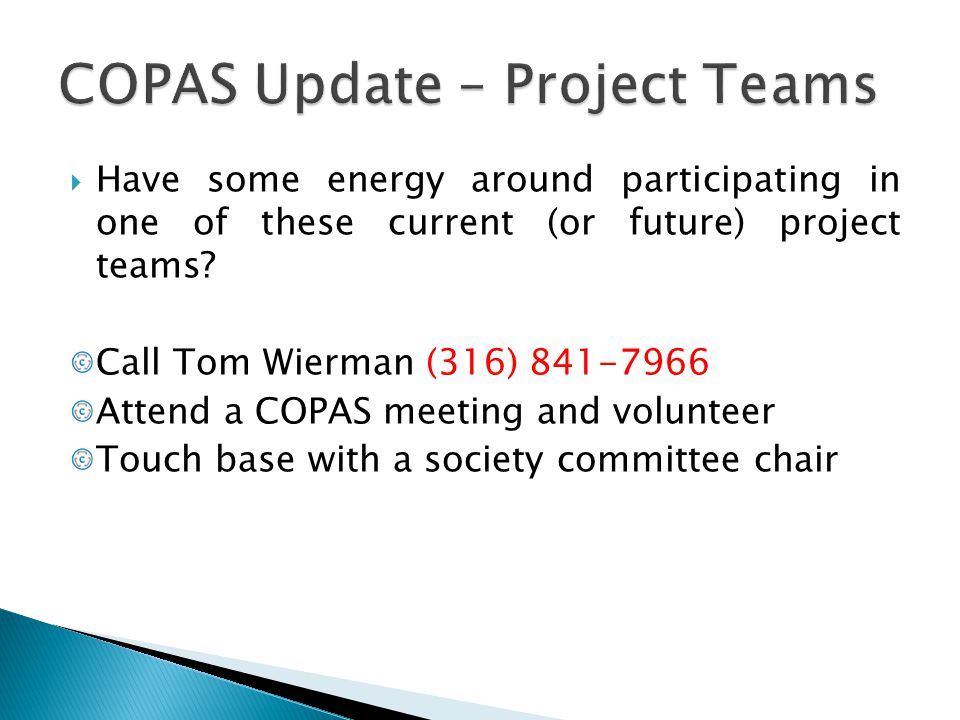 COPAS Update – Project Teams